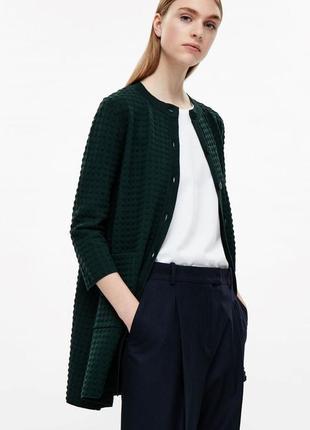 Cos брендовый длинный свободный темно-зеленый кардиган, кофта на пуговицах