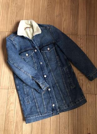 Шикарна джинсова курточка з мехом дуже тепла від denim💚