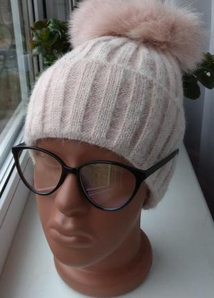 Новая ангоровая шапка (на флисе) с натуральным бубоном бублик, нюдовая