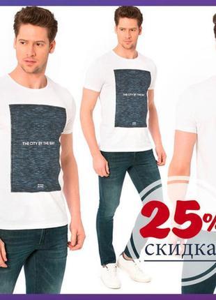 Белая мужская футболка lc waikiki / лс вайкики с рисунком и надписью на груди