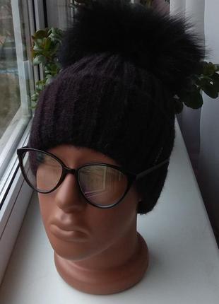 Новая ангоровая шапка (на флисе) с натуральным бубоном бублик, черная