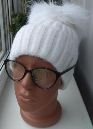 Новая ангоровая шапка (на флисе) с натуральным бубоном бублик, белая