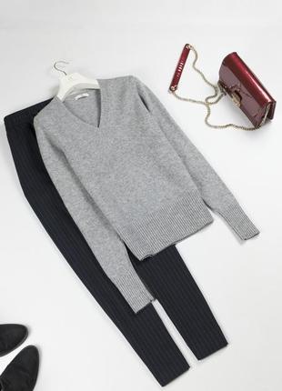 Базовый шерстяной свитер / серый джемпер из шерсти ламы m l