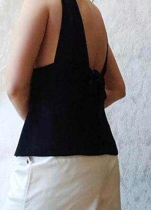 Шикарна чорна майка блуза від zara з відкритою спиною3 фото