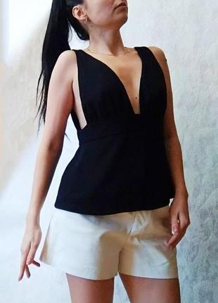 Шикарна чорна майка блуза від zara з відкритою спиною5 фото