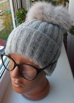 Новая ангоровая шапка (на флисе) с натуральным бубоном бублик, серая