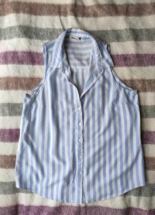 Блузка/топ без рукавов в голубую полоску sinsay, 100% вискоза