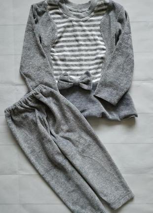 Велюровый костюм (кофта с баской и лосины)