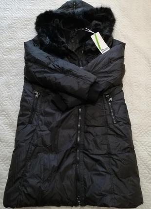 Италия чёрная зимняя куртка пальто с мехом  xxl/xl