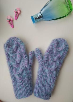 Пушистые варежки рукавицы мохер ручная работа