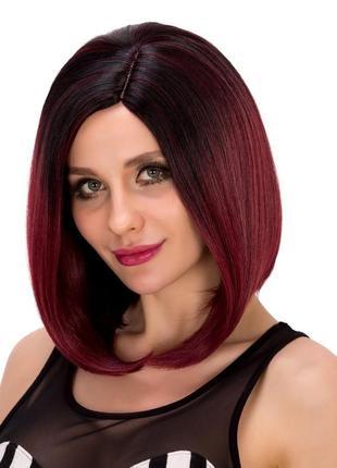 Шикарный синтетический парик боб стиль прямые черные ombre вино)))термо)