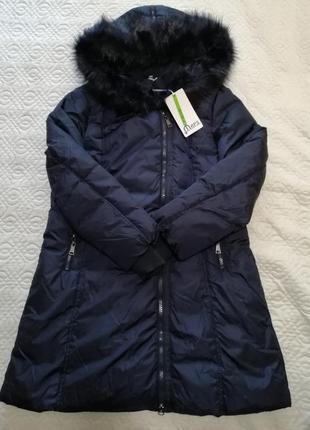 Италия зимняя женская куртка пальто с мехом синяя чёрная xxl/xl