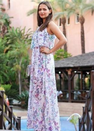 Длинное шифоновое платье h&m с разрезами