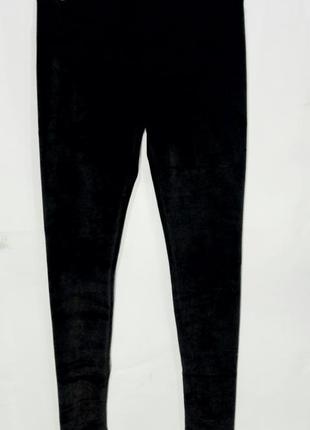 Лосины женские теплые зимние бархатные на флисе черные размер m/l