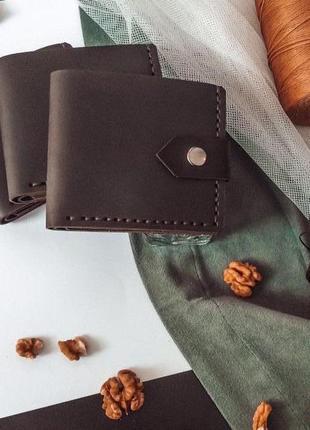 Кожаный кошелек ручной работы orsi mini 2 темно-коричневый