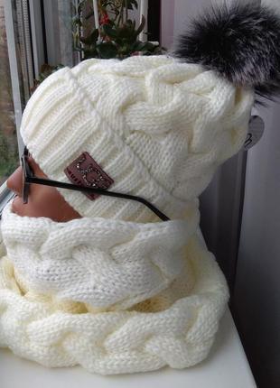 Новый красивый комплект: шапка (на флисе) и снуд труба, молочный