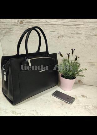 Офисная женская сумка 2в1 с перегородкой и косметичкой baliviya 19054 коричневая