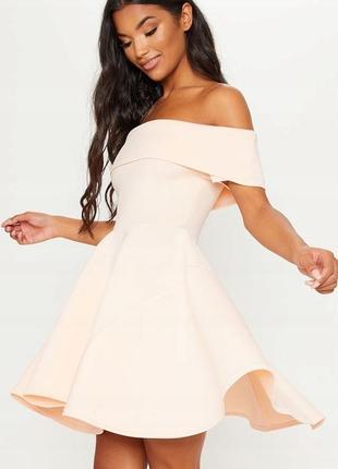 Prettylittlething персикова сукня-кльош сонце
