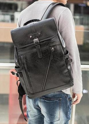 Мужской городской рюкзак из эко кожи подойдет для ноутбука  15,6 дюймов