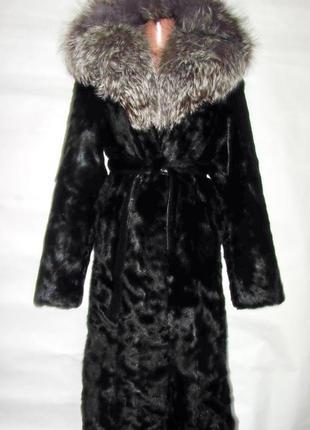 Шуба,шубка,полушубок натуральный мех коза,чернобурка,лиса, капюшон, размер 46-48