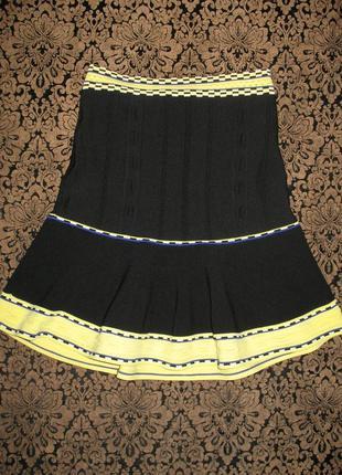 Черная брендовая юбка sandro paris с высокой посадкой винтаж миди мини чёрная