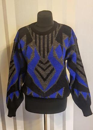 Клевый свитер свитшот чёрный с синим арнаментом