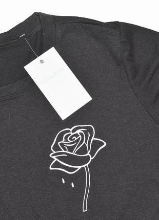 Чёрная футболка с розой primark5 фото