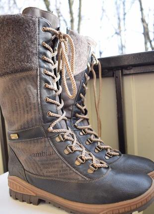 Зимние кожаные сапоги мембранные дутики сноубутсы ботинки