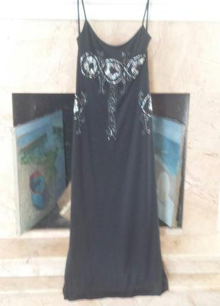 Cacharel вечернее шелковое трикотажное макси платье р. 46