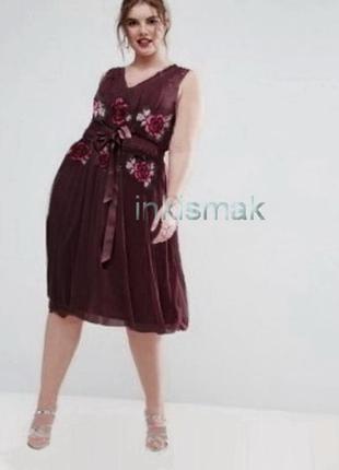 Нарядное платье с вышивкой teatro uk 22 большой размер