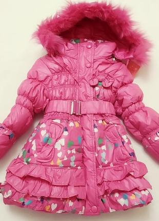 Теплое пальто на девочку,красивый принт, оборки
