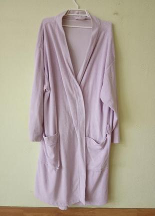 Махровый женский халат цвет бледно розовый размер 52-56