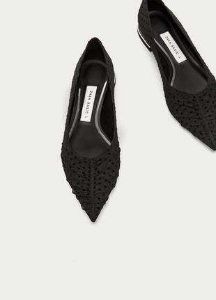 Сетчатые туфли балерины с точками zara basic