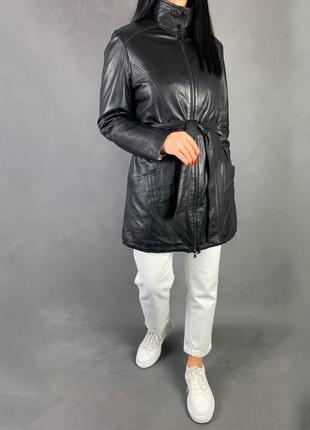 Утеплённая кожаная куртка пальто под пояс mark adam.