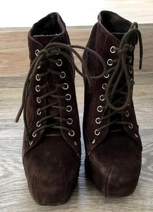 Коричневые замшевые ботинки jeffrey campbell оригинал 36 размер