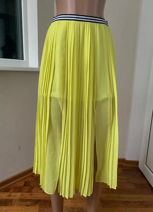 Лимонная миди юбка плиссе