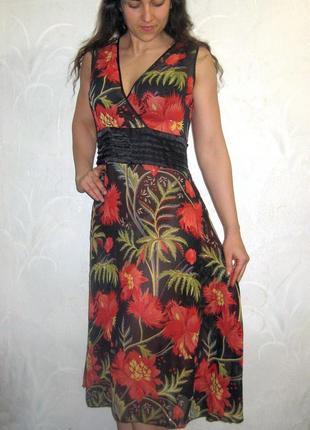 Платье сарафан pussycat london летнее красный цветочный принт нарядное коктейльное