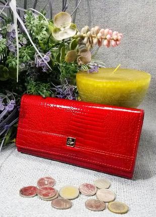 Большой кожаный лаковый кошелек red, 100% натуральная кожа, есть доставка беспла