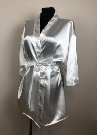 Атласный халат  принтом стрекозы avon