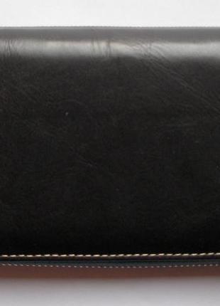 Большой кожаный кошелек-клатч арлекин, 100% натуральная кожа, есть доставка бесплатно2 фото