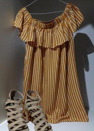 Платье с открытыми плечами летнее 12-14 размер (xl-l)
