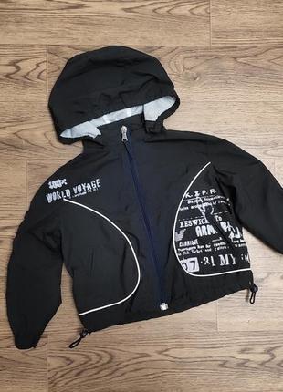 Детская ветровка легкая куртка с капюшоном черная брендовая armani junior