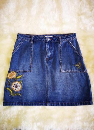 Джинсовая юбка tu с вышивкой и заклепками