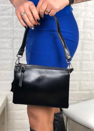 Клатч кожа через плечо длинный ремешок сумка крос боди