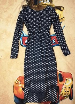 Новое платье миди в горошек