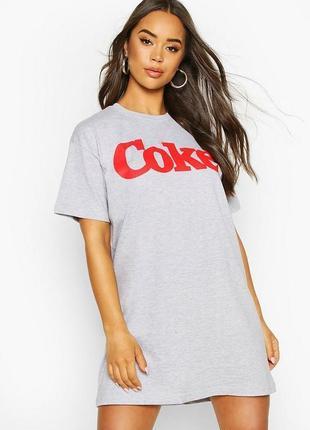Boohoo, платье футболка с графическим принтом оверсайз