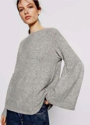Стильный вискозный меланжевый джемпер рукава-воланы размер xxl