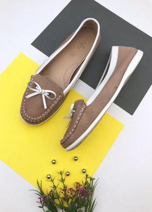 Кожаные туфли мокасины на низком ходу footglove