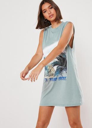 Missguided, платье футболка с графическим принтом оверсайз