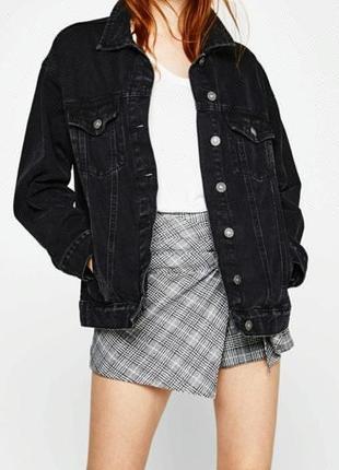 Джинсовая куртка пиджак оверсайз бойфренд винтаж графит